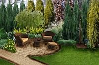 Projekt małego wgłębnika w małym ogrodzie w Warszawie